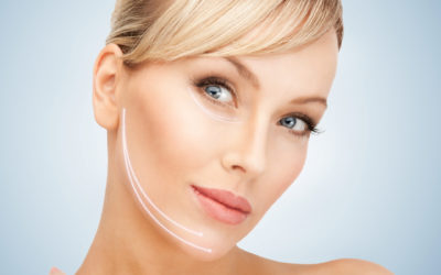 an aging woman chooses between laser rejuvenation and surgical facelift